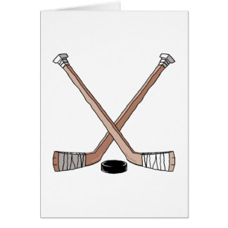 puck and hockey sticks design greeting cards
