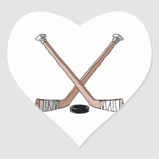 puck and hockey sticks design heart sticker