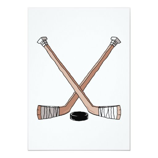 "puck and hockey sticks design 5"" x 7"" invitation card"