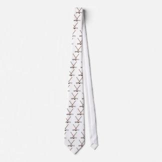 puck and hockey sticks design neck tie