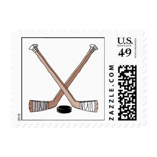 puck and hockey sticks design stamps