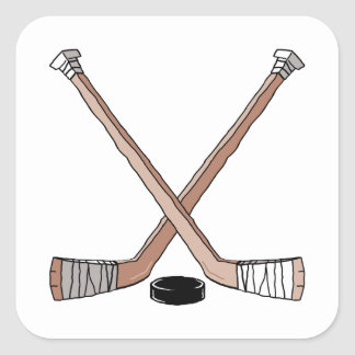 puck and hockey sticks design square sticker