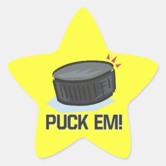 Puck Em Star Sticker