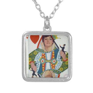 puck magazine cover square pendant necklace