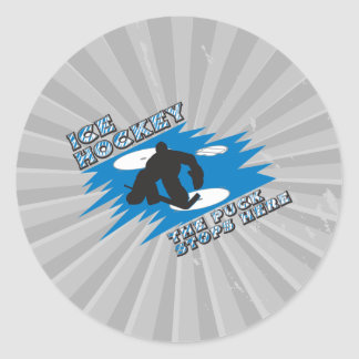 puck stops here ice hockey design round stickers