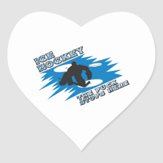 puck stops here ice hockey design heart stickers