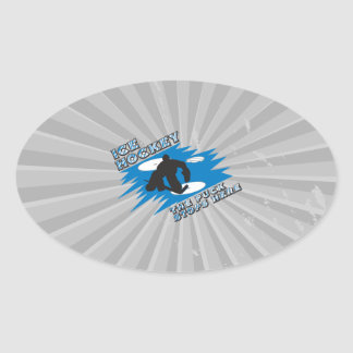 puck stops here ice hockey design oval stickers