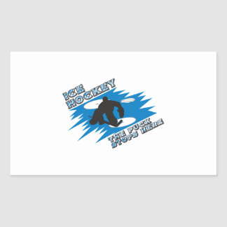 puck stops here ice hockey design rectangle sticker