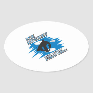 puck stops here ice hockey design oval sticker