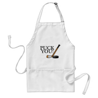 Puck You Hockey Stick and Puck Adult Apron