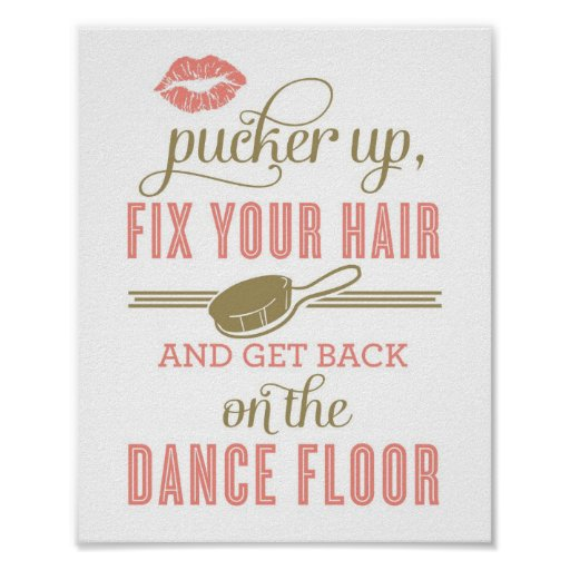 Pucker Up and Fix Your Hair | Ladies Restroom Sign Print