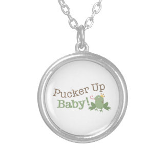 Pucker Up Baby! Round Pendant Necklace