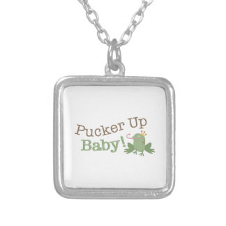 Pucker Up Baby! Square Pendant Necklace