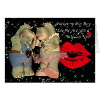 Pucker up Big Boy Birthday Hippo Card