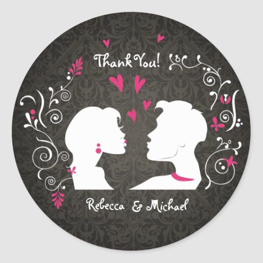 Pucker up Bride and Groom Thank You Stickers