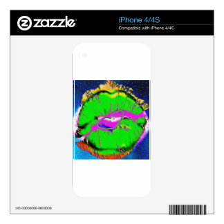 Pucker Up Lime Green Decals For The iPhone 4S