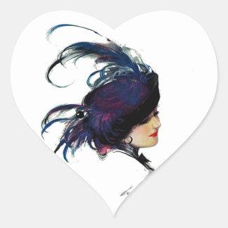 Puck's Blue-bird Lady Heart Sticker