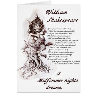 Puck's Soliloquy Midsummer Night's Shakespeare Card