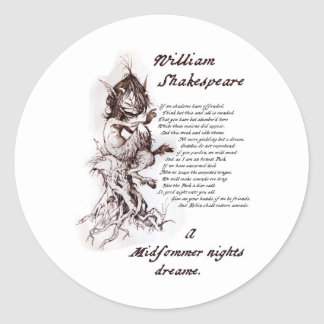 Puck's Soliloquy Midsummer Night's Shakespeare Classic Round Sticker