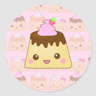 puddings everywhere! classic round sticker