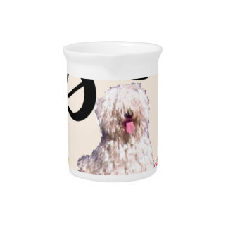 Puddle dog is rocking in a swing with flowers drink pitcher