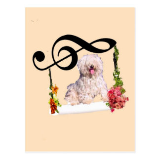 Puddle dog is rocking in a swing with flowers postcard