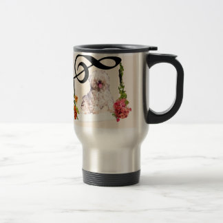 Puddle dog is rocking in a swing with flowers travel mug