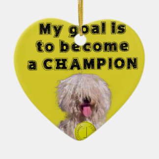 Puddle dog with a champion medal ceramic ornament