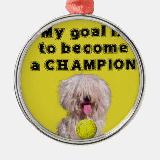 Puddle dog with a champion medal metal ornament