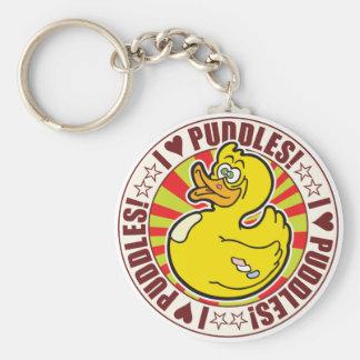 Puddles Love Duck Basic Round Button Keychain