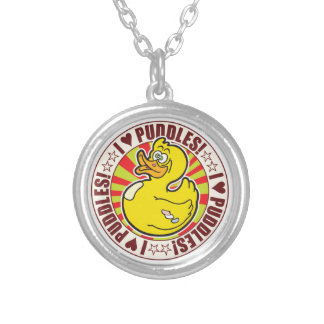 Puddles Love Duck Round Pendant Necklace