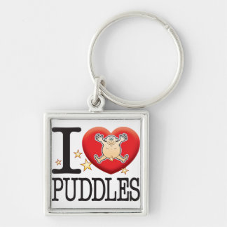 Puddles Love Man Silver-Colored Square Keychain