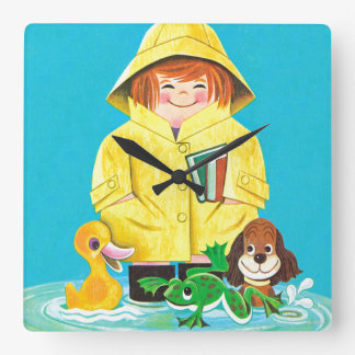 Puddles of Fun Square Wall Clock