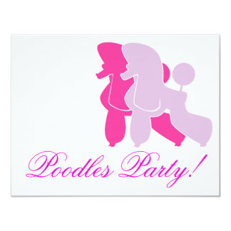 "Pudel in Rosa pink 4.25"" X 5.5"" Invitation Card"
