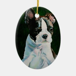 Pudgy Boston Terrier Puppy Ceramic Ornament
