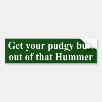 Pudgy Butt Hummer Sticker Car Bumper Sticker