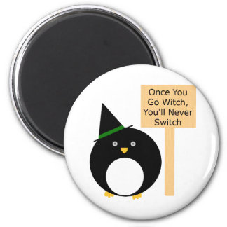 Pudgy Penguin Witch 2 Inch Round Magnet