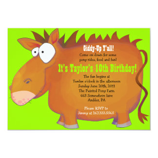 PUDGY PONY Horseback Birthday Party Invitation