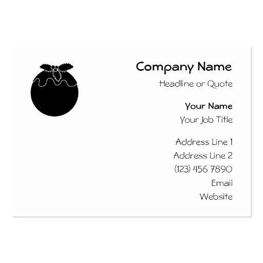 Pudín blanco y negro del navidad plantilla de tarjeta de negocio