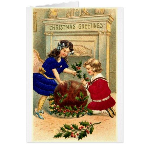 Pudín de Figgy de 1904 navidad Tarjeta
