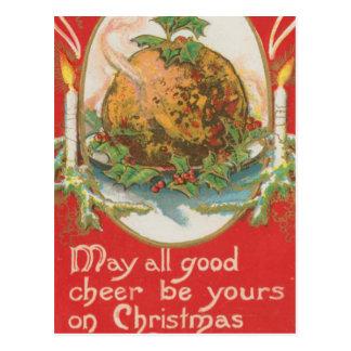 Pudín del navidad del vintage tarjeta postal