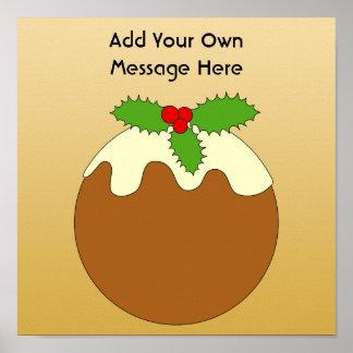 Pudín del navidad Fondo del color oro Poster