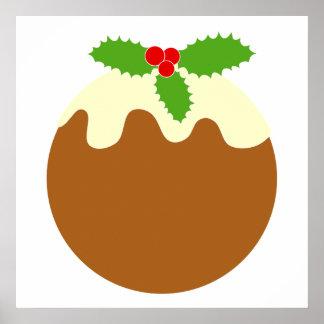 Pudín tradicional del navidad En blanco Poster