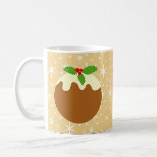 Pudín tradicional del navidad taza de café