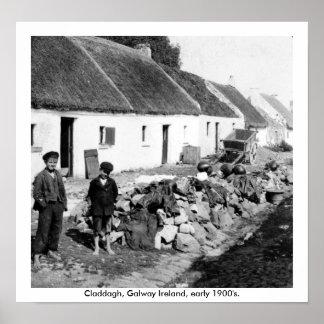 Pueblo 1900's temprano de Galway Irlanda - de Clad Póster
