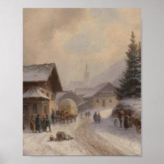 Pueblo alemán en invierno impresiones