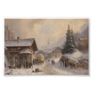 Pueblo alemán en invierno arte fotografico