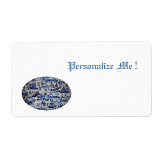 Pueblo azul blanco del viejo vintage de Navidad de Etiquetas De Envío