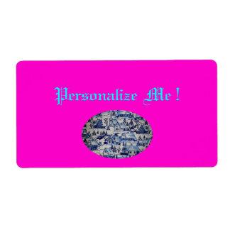 Pueblo azul blanco del vintage rosado lindo de Nav Etiquetas De Envío