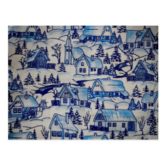 Pueblo azul del día de fiesta del navidad del vint postal